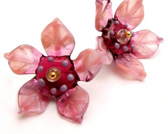 Lampwork Glass Flower Beads for Jewelry Making, 2 Pink flowers, Made to Order