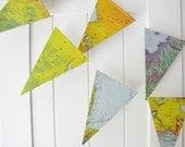 Map Bunting,Vintage Atlas Bunting 5ft Long,Map Decor,Wedding Bunting,Bridal Shower, Photo Prop, Bon Voyage Party