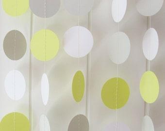 Yellow White & Grey Circle Garland 10ft Long - Wedding Decor, Birthday Decoration, Baby Shower Garland, Nursery Garland