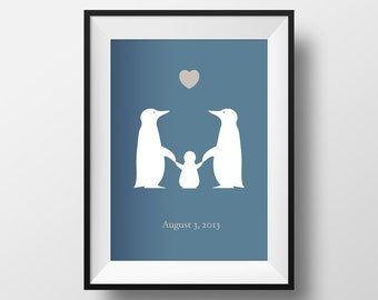 Penguin And Baby Love Print. Celebrate New Baby, Birth, Christening, Engagement, Wedding, Anniversary gift. Prints for the home.
