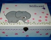 Hand Painted Baby Keepsake BOX Large Wood Personalized Memory Box Decorative Elephant Pink Nursery Baby Girl Or Boy Newborn Baby Shower Gift