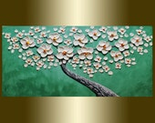 Abstract Painting Palette KnifeTexture Oil painting Acrylic painting contemporary white Cherry Blossom Landscape painting.