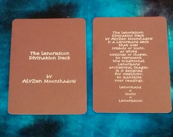 "The ""LENORMICON"" Lenormand deck by AlyZen Moonshadow fortune telling cartomancy divination"