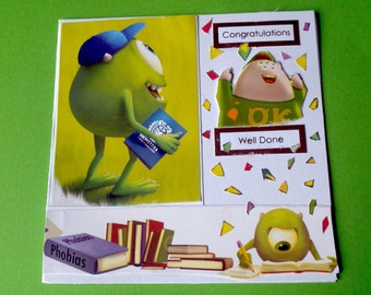 monsters inc well done congratulation university college pass fun card