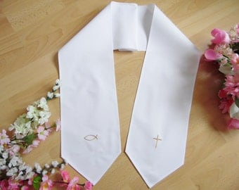 Christening/baptism scarf tie ends,100% cotton