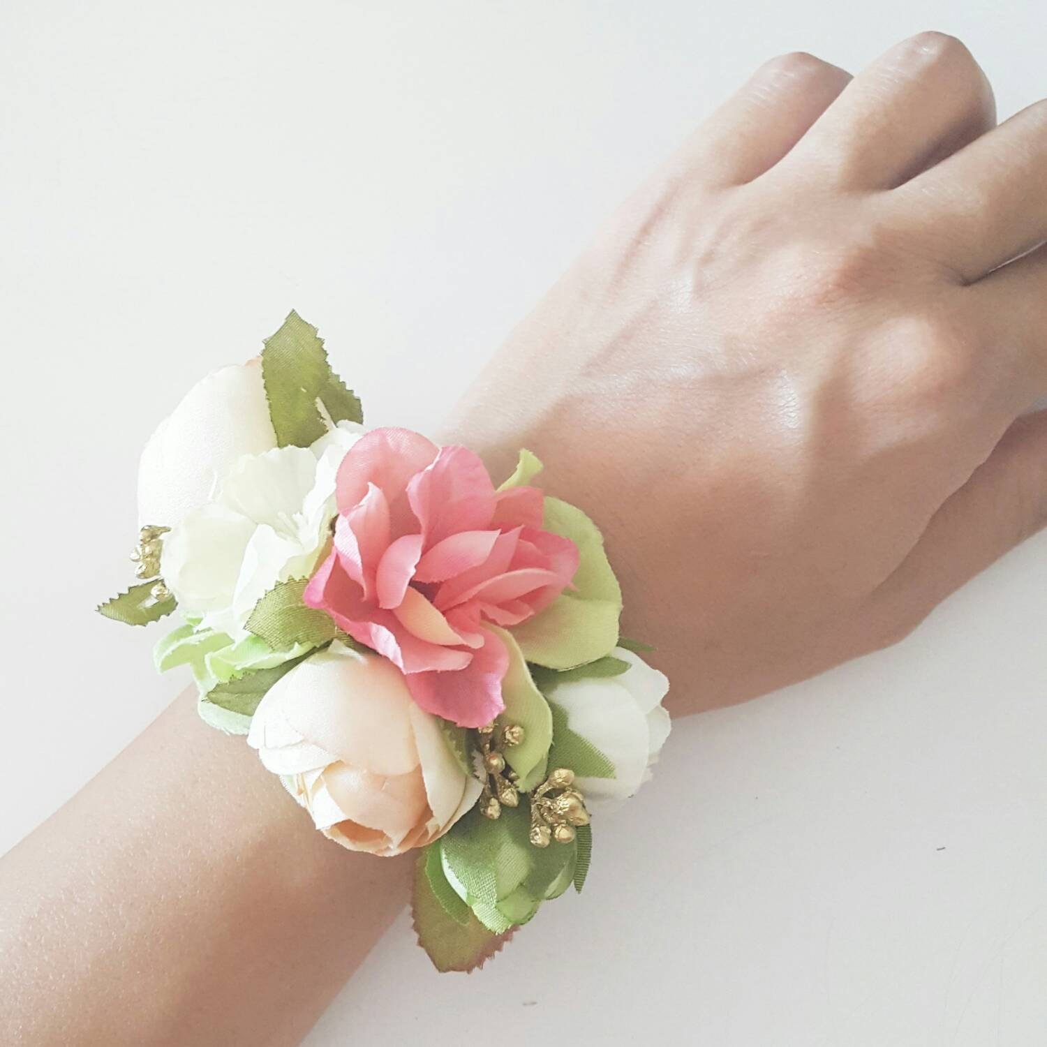 Wrist Corsage: Silk Flower Bracelet Wrist Corsage Of Coral Green By LilySarah