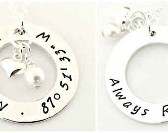 Hand Stamped DOUBLE SIDED Latitude Longitude Necklace - Personalized Custom Coordinate Jewelry  Silver Puffy Heart & Pearl Location GPS Gift