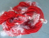 Handspun Yarn: Corespun Mohair and Wensleydale Locks in Red Begonia and White