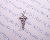 8 Antique Silver Small Caduceus Medical Charms Pendants