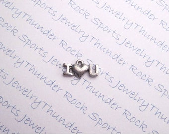 12 Antique Silver I Love You Pendants Heart Charms