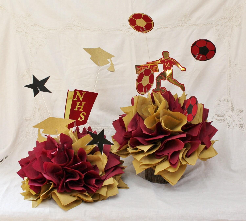 Senior 2015 centerpieces sports graduation by fabbcreations for 2015 graduation decoration ideas