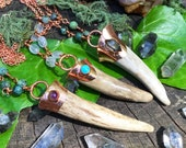 OOAK Antler Tip Electroformed in Copper with Gemstones - organic nature necklace