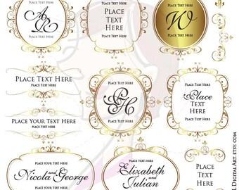 Gold Frame Clipart Monogram Business Branding DIY Logo Clip Art Wreath Vector Wedding Logo Design Label Tag Commercial Use 10642