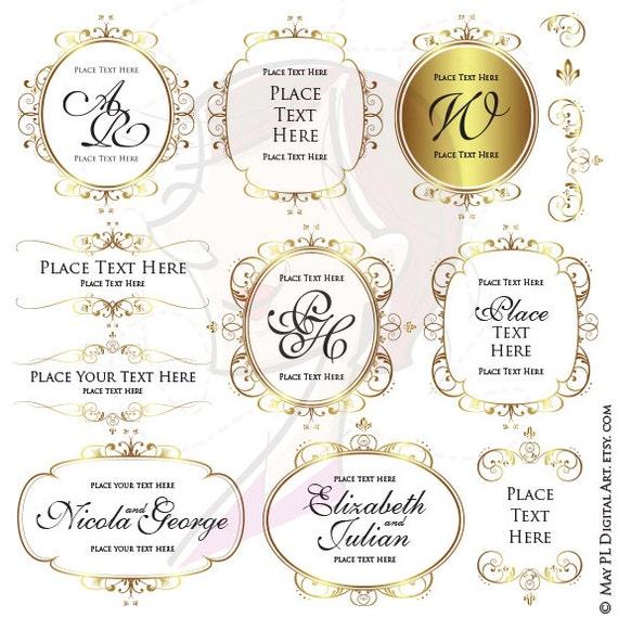 Gold Frame Clipart Monogram Business Branding Diy Logo Clip Art Wreath Vector Wedding Logo