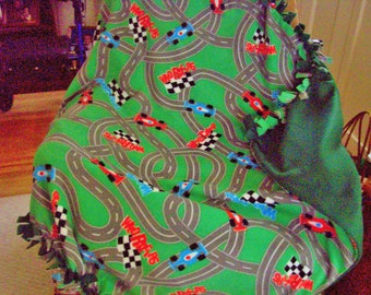 2 Layers of warm fleece - RACE CAR TRACK pattern - Great for the car...take along cars so the kids are occupied