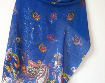 Peacock Pattern Scarf, Dark Blue Scarves, Cotton Shawl, Women Scarf, Accessories,  Women Wraps, Scarves, Gifts For Her, Christmas Gifts