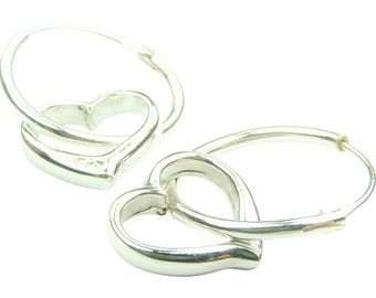 Tiny Hearts and Hoop Earrings in Sterling Silver, Silver Hoop Earrings, Tiny Silver Hoops, Tiny Heart Earrings, Silver, Earrings, Hoops,