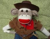 Western Rodeo Cowboy/ Little Buckaroo Brown Sock Monkey Doll