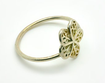 Flower Ring Size 7.5, Openwork Woman Ring, BLOSSOM, 925 Sterling Silver Ring, women jewelry gift