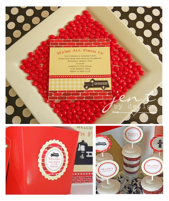 A Vintage Firetruck Birthday Party: Vintage Fire Truck Printable Party Collection