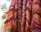 RESERVED for LAURA. Handknitted women coat kimono long jacket vibrant orange red purple gypsy hippie style threads in 3D