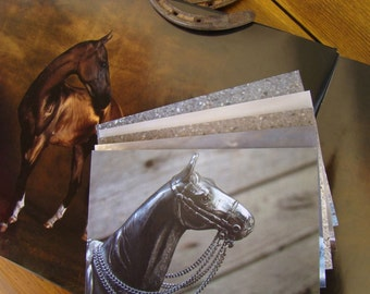 Model Muses II, Metals - Original Photography, Vintage Metal Horse Statue Note Cards, Set of Five