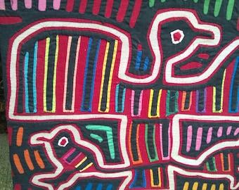Vintage Kuna Mola Textile Latin American Peyote Bird Colombia 1979