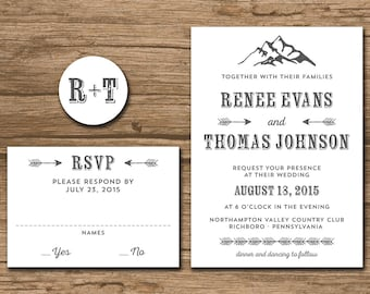 Rustic Mountain Wedding Invitation Suite, Response Card, Monogram - rustic, outdoor wedding, brown paper, print on kraft paper - Renee