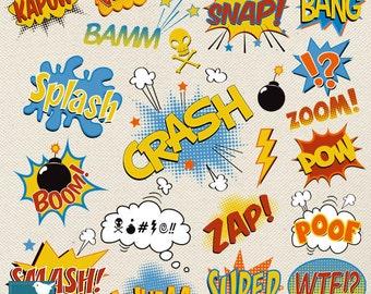 Speech Bubble clipart, super hero pop art text clip art, scrapbook, invitation, greeting cards - INSTANT DOWNLOAD