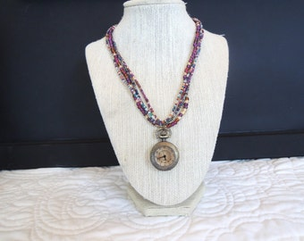 Pocket Watch Pocketwatch Multi Strand Necklace Colorful Original Unique Gift Style Under 40