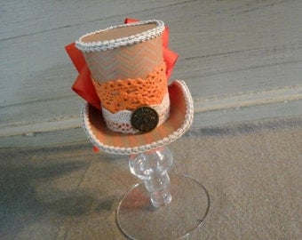 OOAK Fun and funky mini top hat fascinater Orange chevron