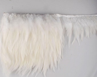 Amazing White Rooster  Hackle Feathers Trim. Price per yard.
