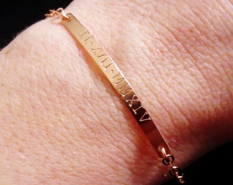 Personalized Rose Gold Bar Bracelet, Handstamped Roman Numerals Bar Bracelet, Name Jewelry, Kardashian, Kids Names, Mothers Day