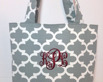 SMALL gray and white QUATREFOIL Handbag/ Diaper Bag/ Purse/ Tote/ Beach Bag