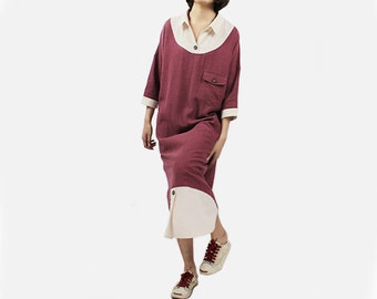 Long Long Blouse Woman Dress Culture Blouse Loose Blouse Design Dress Linen Blouse #B06