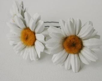 Daisy Leather Flower Hair pins set (3 pcs)