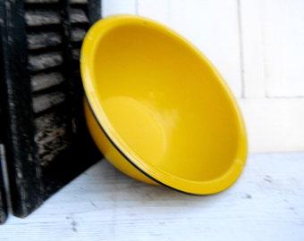 Vintage 1950s Enamel Ware Large Mixing Bowl Kitchen Antique Farmhouse Country Primitive Bright  French Yellow Graniteware Metal Bowl