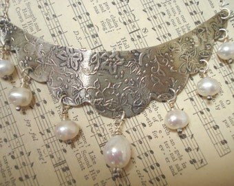 Freshwater Pearls Scalloped Silver Etched Wedding Necklace