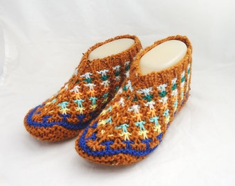 Women Slippers, Knit Women Slippers, Hand Knitted Slippers, Short Socks, Striped Slippers, Orange Slippers, UK Seller