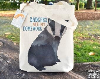Badgers Ate My Homework Tote Bag, Cotton Tote, Ethically Produced Shopper Bag, School Bag, Book Bag, Reusable Shopper Bag, Eco Tote Bag