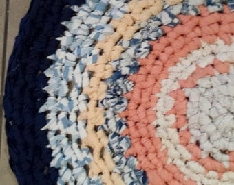 Crochet Rag Rug Peaches and Dreams Round Artisan Cottage Chic Gypsy Eco Friendly Blue Textile Art Hand Made Kitchen Bath Nursery Pet Dog Cat