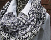 Infinity Scarf Crochet Acrylic Washable Colorful Warm Long Soft Handmade Adjustable Lavender Grey White Black