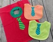 Tie Bib, Boy Baby Shower Gift Bib, 1st Birthday Bib, Personalized Bib, Adult Bib, Dish Towel Bib, Monogrammed Bib, Baby Boy Gift