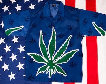 Blue WEED 420 MARIJUANA Short Sleeve Shirt Men's Size XL