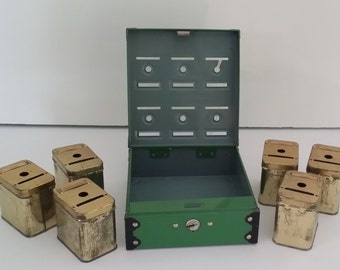 Vintage Green Home Budget Bank -- Tudor Metal, 6 Inner Boxes and Key, Savings / Budgeting Plan for Children, New Grads
