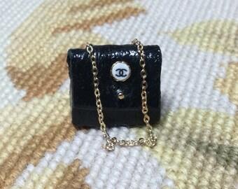DOLLHOUSE MINIATURE - Designer Bag Purse - by Pat Tyler Leather Miniatures
