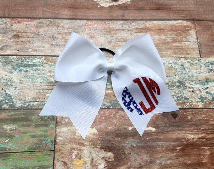 Cheer Bows, Hair Bows, 4th of July Cheer Bow, Red White and Blue Cheer Bow, Monogram Cheer Bow, Monogrammed Cheer Bows