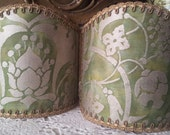 Pair of  Wall Sconce Clip-On Shield Shades Fortuny Fabric Persepolis in Green and Gold Mini Lampshade - Handmade in Italy