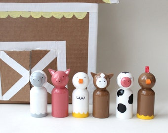 SOLD OUT -- children's wooden toys - farm peg dolls