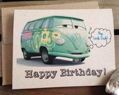 Happy Birthday - Cars inspired - VW Bus - Little Dude - Boys -  Note Card - Greeting Card - Boy - Blue - Recycled - Eco Friendly